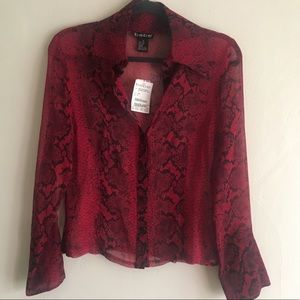 NWT BeBe Animal Print Red Button Up Sz Small